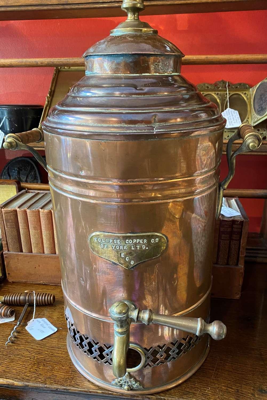 Large Rare Copper Tea Urn By Eclipse Copper Co. York