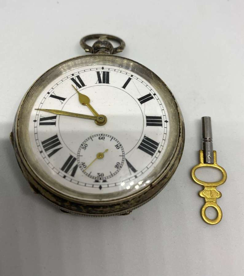 Silver Open Faced Pocket Watch Fully Working