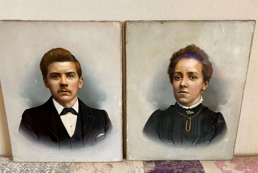 Pair Of Edwardian Oil On Canvas Portraits