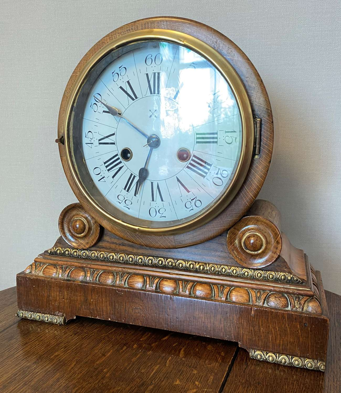 German 8 Day Drum Head Mantel clock