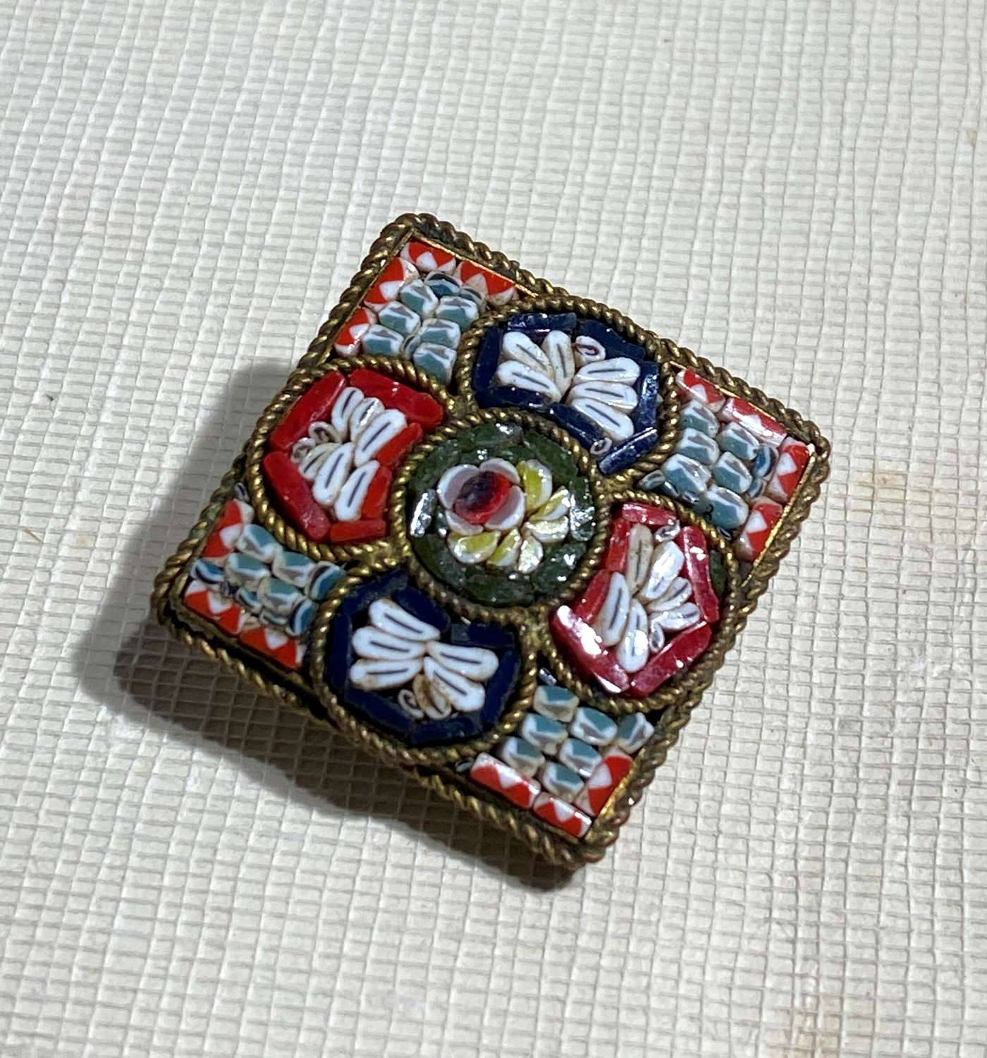 Antique Micro Mosaic Brooch With Dragonflies
