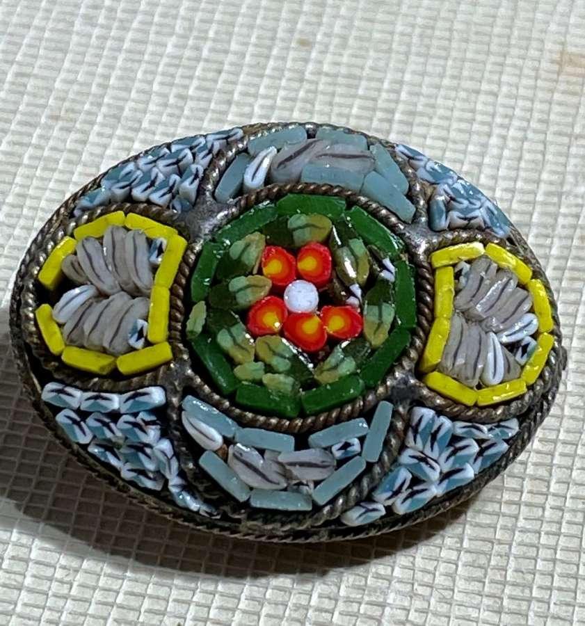Oval Italian Micro Mosaic Brooch