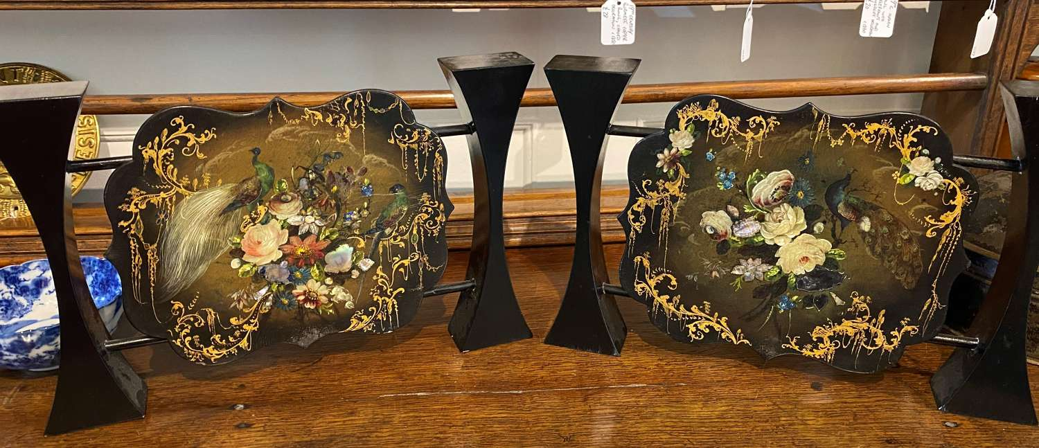 Antique Mounted Papier Mache & Mother Of Pearl Face Screens