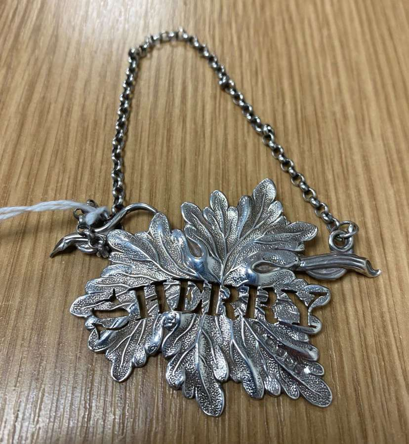 Antique George IV Solid Silver Sherry Decanter Label