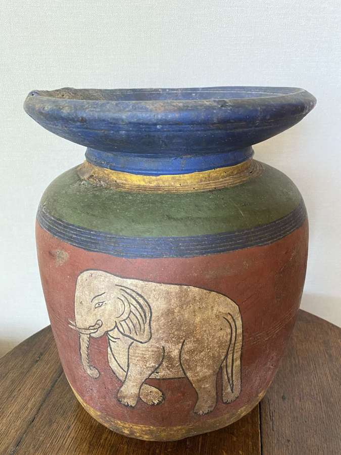 Large Himalayan Hand Painted Curd Pot