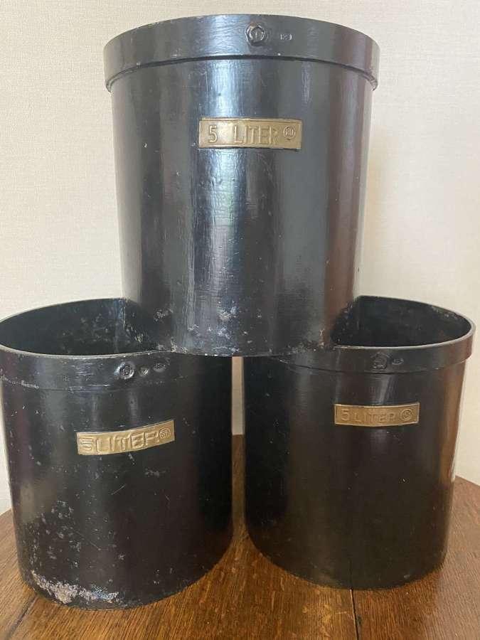 Set Of Three Dutch Toleware 5 Litre Coffee Measures