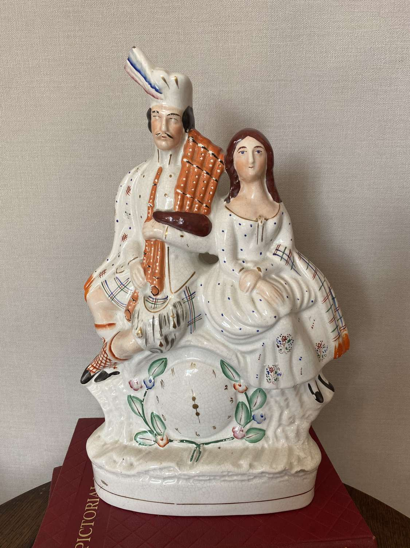 19th Century Staffordshire Scottish Couple On Clock