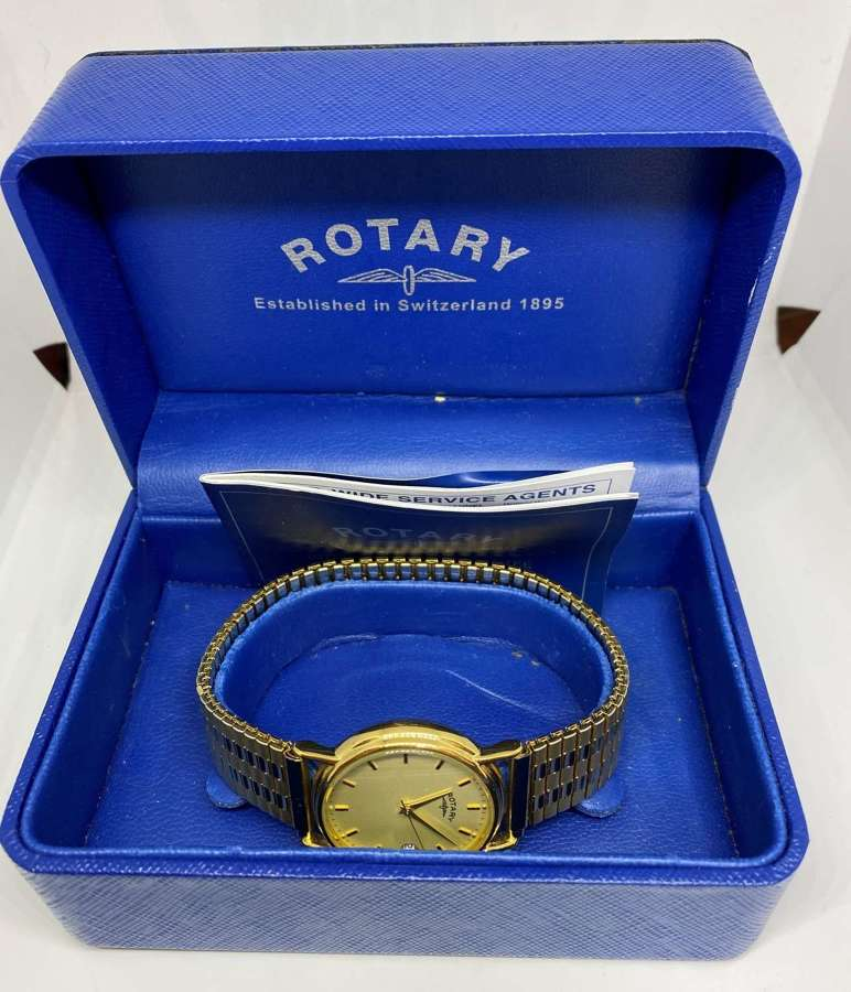 Rotary Gent's Gold Plated Watch, Box & Papers