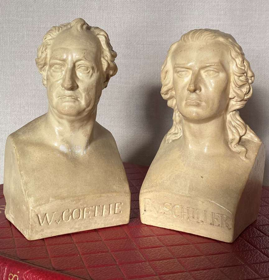 Pair 19thC Library Cabinet Busts