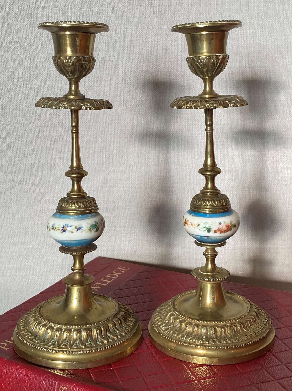 19th Century French Porcelain Mounted Gilt Brass Candlesticks
