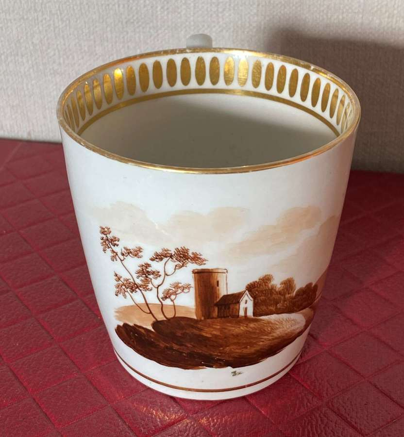 19th Century Oval Ring Handled Coffee Cup