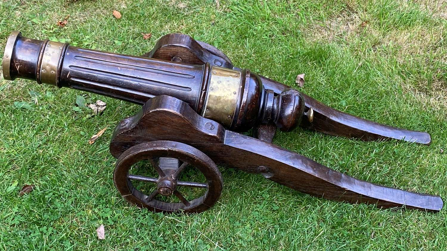 Brass & Walnut Country House Model Of An 18thC Field Canon