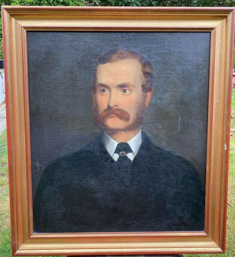 Large Edwardian Oil On Board Portrait Of A Moustached Gentleman