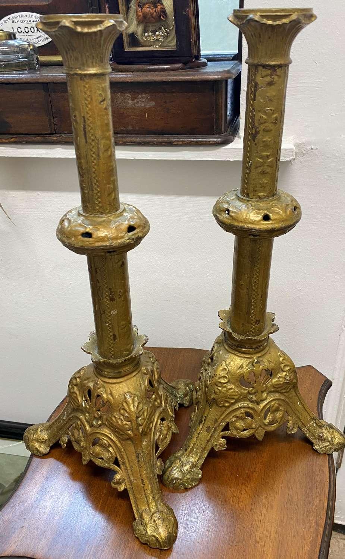 Large Pair French Gilt Metal Altar Candlesticks
