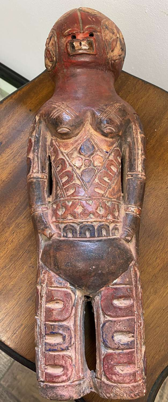 Large Congolese Ceramic Hand Painted Kikuyu Doll