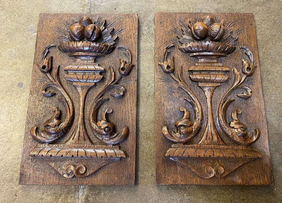 Good Pair Of French Carved Wooden Panels