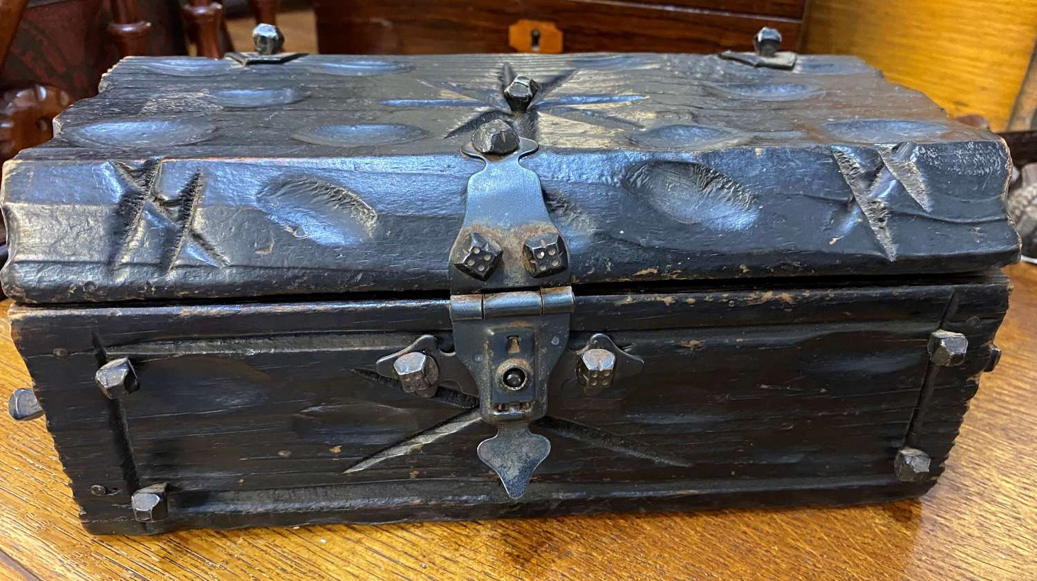 Antique French Wooden & Iron Casket