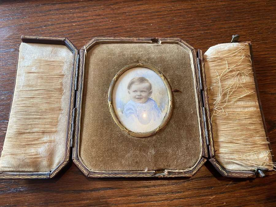 Edwardian Overpainted Photograph In Easel Frame