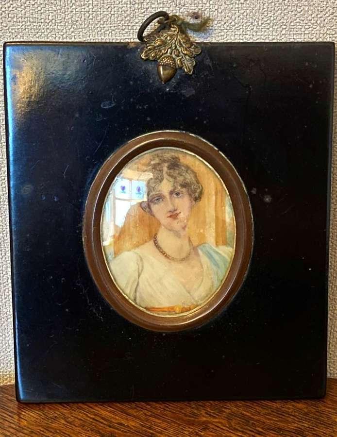 Miniature Watercolour On Ivory Of Lady Carrington